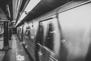 Old picture New York subway train