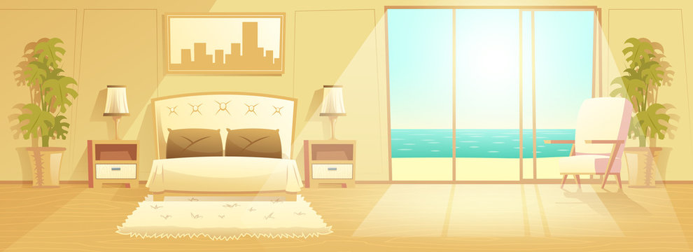 Sunny bedroom in villa on seashore, luxury resort hotel spacious apartments classic design interior cartoon vector with comfortable furniture, tropical seacoast behind sliding glass door illustration