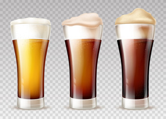 Freshly brewed, various grades of craft beer poured in glossy weizen glasses with foam pours out on top 3d realistic vector set isolated on transparent background. Beer, ale or lager types collection