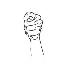 sketch illustration- hand showing blow