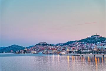 Sibenik old town panoramic view at sunset