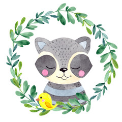 Watercolor illustration with cute raccoon, flower and leaves