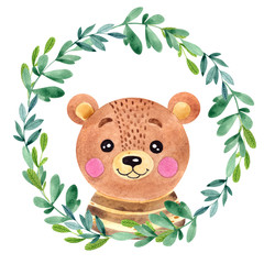 Watercolor illustration with cute bear, flower and leawes