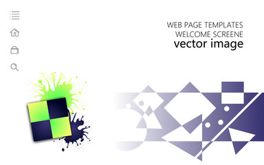 Web page templates welcome screene white background horizontal orientation