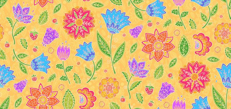 Bright colors vintage textile floral ornament vector seamless pattern tile
