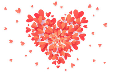 Vector trendy coral pink color heart shape filled with paper hearts confetti isolated on white background