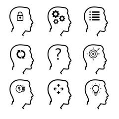 Human head icons set. Symbol of thinking process and idea concept.  Vector illustration.
