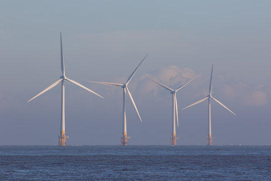 Offshore wind turbines. Green energy.