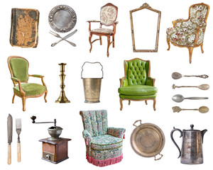 Set of 21 gorgeous old vintage items. Old dishes, appliances, kettles, chairs, books, coffee grinder, candlesticks, picture frames. Isolated on white background.