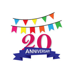 Anniversary, 20 years multicolored icon. Can be used for web, logo, mobile app, UI, UX