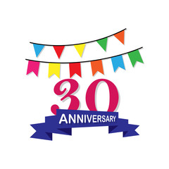 Anniversary, 30 years multicolored icon. Can be used for web, logo, mobile app, UI, UX