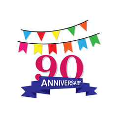 Anniversary, 90 years multicolored icon. Can be used for web, logo, mobile app, UI, UX