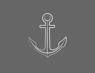 A white anchor of ship vector to secure vessel in the sea on black background illustration
