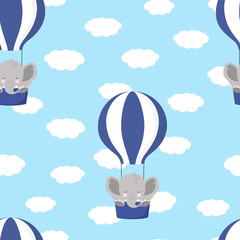 pattern with elephant and air balloon