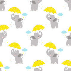 pattern with elephant and umbrella