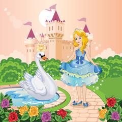 Beautiful princess and swan in the garden. Wonderland. Children's illustration.