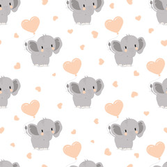 pattern with elephants and hearts