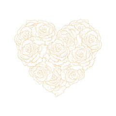 Bright Hand Drawn Floral Heart Symbol Vector Illustration. Gold Roses Isolated on a White Background. Lovely Elegant Pastel Color Design. Adorable Bouquet of Heart Shape. Sweet Romantic Art.