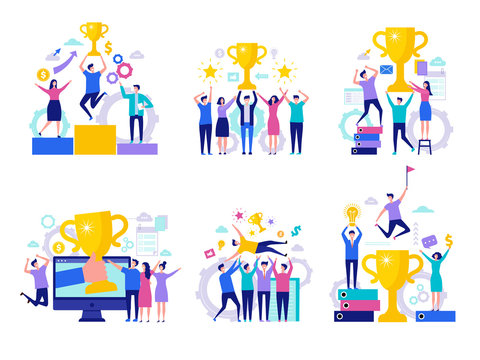 Business victory concept. Successful happy finance managers director winning rewards team with cups vector characters. Illustration of business success, businessman achievement