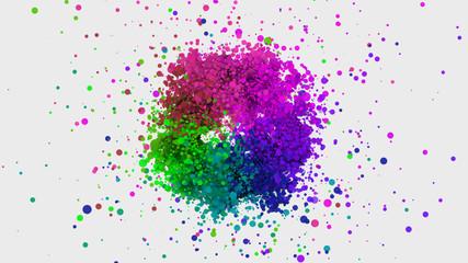Creativity galaxy splash colorful rainbow color on white background, business idea and creativity power idea concept.