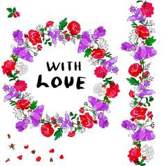 Flower illustration for card, banner, template.