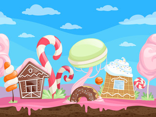 Game seamless sweet landscape. Fantasy delicious background desserts candy sugar caramel chocolate biscuits lollipop vector cartoon. Illustration of sweet world gui, house building and maracon candy