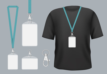 Badges mockup. Presentation tag access business badges with personal name or id vector template. Pass tag badge on lanyard, identity corporate and authentication registration member illustration