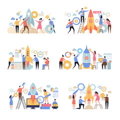 Launch business startup. Rocket successful company new working idea business metaphor office characters people managers vector scene. Start launch rocket, company startup project illustration
