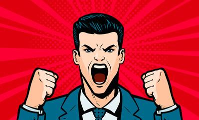 Man screaming loudly. Cartoon in pop art retro comic style, vector illustration