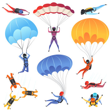 Extreme parachute sport. Adrenaline characters jumping paragliding and skydiving fly aerodynamics vector picture isolated. Skydiver jumping, parachuting sport, paragliding illustration
