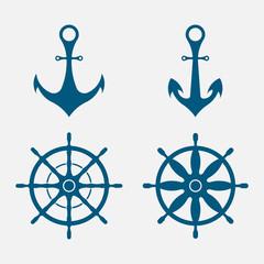 anchor and steering wheel, nautical symbols