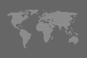 Door stickers World Map World map vector using white straight lines on dark background illustration