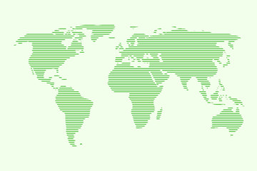 World map vector using green straight lines on light background illustration