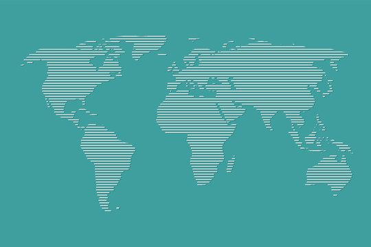 World map vector using white straight lines on dark blue background illustration