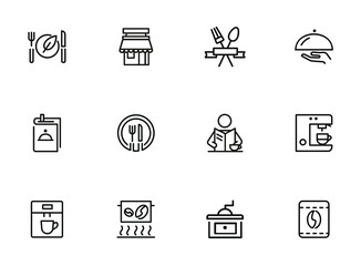 Restaurant icons. Set of line icons on white background. Menu, coffee maker, course, client. Cafe concept. Vector illustration can be used for topics like food, catering, service