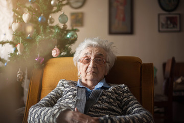 Lonely senior woman at Christmas.