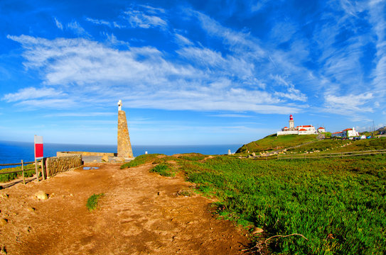 Road at Cape Roca. Cabo da Roca most western point in Europe. Travel tourism landmark in Sintra and Lisbon, Portugal