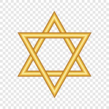 Gold david star icon. Realistic illustration of gold david star vector icon for web design for web design
