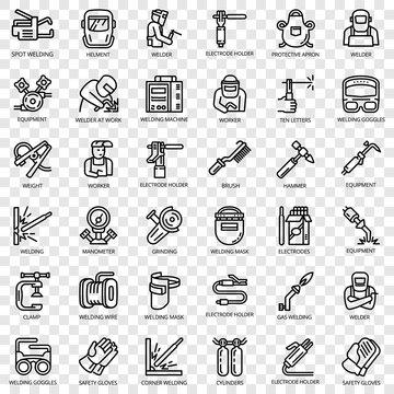 Welder equipment icon set. Outline set of welder equipment vector icons for web design