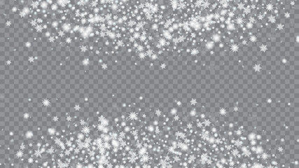 Falling snow background. Macro snowflakes flying border illustration. Festive picture of the Christmas banner. Transparent base.