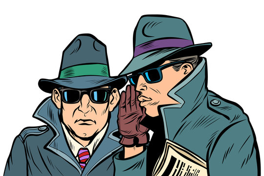 Two secret agents whispering