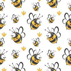 Cute seamless bee pattern