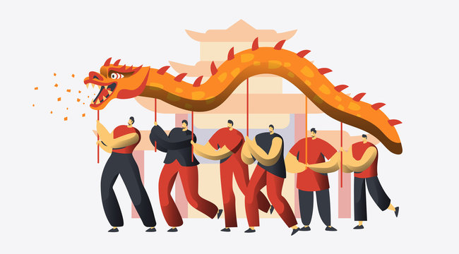 Chinese New Year Dragon Dance Festival. Asian Lunar Holiday Character Traditional Party Parade. Happy Man Celebrate Prosperity Concept for Banner Flat Cartoon Vector Illustration