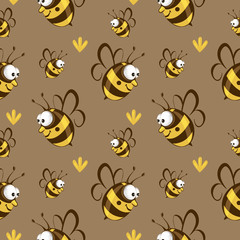 Cute seamless bee pattern vector.