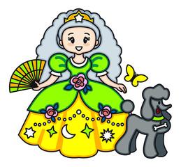 Beautiful princess with black poodle