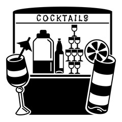 Cocktail kiosk icon. Simple illustration of cocktail kiosk vector icon for web design isolated on white background