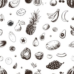 Fruits seamless pattern. Vector background