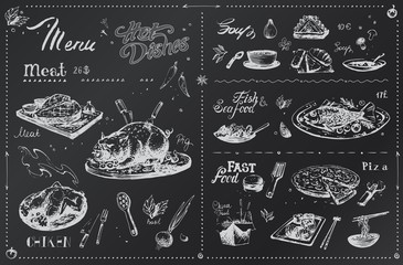 Chalk hand drawn meat dishes for menu design