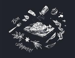 Chalk drawn food poster design. Vector background
