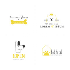 Set of vector hand drawn icons, domestic animals. Logo templates for pets related business.
